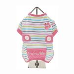 View Image 1 of FouFou Striped Dog Onesie - Pink