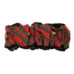 View Image 1 of Fox & Hounds Tartan Velvet Trim Scrunchie with Jingle Bells - Red