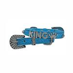 Foxy Glitz Dog Collar With Letter Strap - Blue