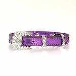 View Image 2 of Foxy Jewel Dog Collar - Metallic Lilac