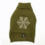 Frosty's Snowflake Dog Sweater - Sage Green