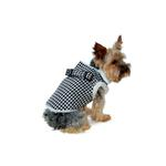 View Image 1 of Furry Houndstooth Harness Coat by Dogo - Black