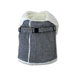Furry Houndstooth Harness Coat by Dogo - Black