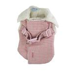 View Image 1 of Furry Houndstooth Harness Coat by Dogo - Pink