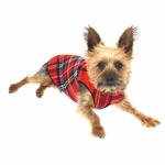 View Image 1 of Gold Paw Fleece Dog Jacket - Red Plaid