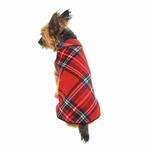 View Image 2 of Gold Paw Fleece Dog Jacket - Red Plaid