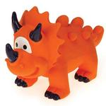 Grriggles Dizzy Dinos Latex Dog Toy - Orange Triceratops