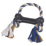 Grriggles Rubber & Rope Bone Tug Toys for Dogs - Black