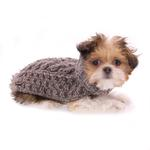 View Image 3 of Handmade Cable Knit Wool Dog Sweater - Gray