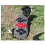 View Image 3 of Handmade Classic Argyle Wool Dog Sweater - Gray