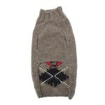 View Image 2 of Handmade Classic Argyle Wool Dog Sweater - Gray