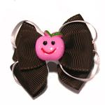 View Image 1 of Happy Face Apple Ribbon Dog Bow - Pink Face and Brown Ribbon