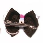 View Image 2 of Happy Face Apple Ribbon Dog Bow - Pink Face and Brown Ribbon