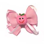 View Image 1 of Happy Face Apple Ribbon Dog Bow - Pink Face and Pink Ribbon
