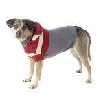 View Image 3 of Harley's Hooded Dog Sweater - Garnet Red & Gray Stripe