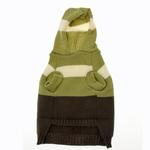 View Image 2 of Harley's Hooded Dog Sweater - Winter Pear & Olive Stripe