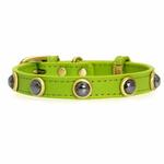 Hematite Pebbles Dog Collar - Green