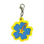 View Image 1 of Hibiscus Soft Rubber Dog Collar Charm - Blue/Yellow
