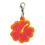 View Image 1 of Hibiscus Soft Rubber Dog Collar Charm - Pink/Orange