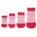 View Image 2 of Home Comfort Traction Control Dog Socks - Pink & Red