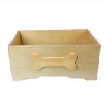 View Image 1 of Honey Pine with Bone Design Wooden Dog Toy Bin