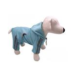 View Image 2 of Hooded Dog Jumpsuit with Reflective Stripes by Klippo - Light Blue