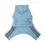 View Image 1 of Hooded Dog Jumpsuit with Reflective Stripes by Klippo - Light Blue