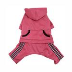Hooded Dog Jumpsuit with Reflective Stripes by Klippo - Pink