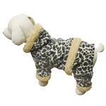 View Image 1 of Hooded Leopard Print Fleece Dog Jumpsuit by Klippo