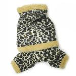 View Image 2 of Hooded Leopard Print Fleece Dog Jumpsuit by Klippo