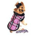 View Image 2 of Hot Pink Plaid with Black Fur Dog Harness Coat