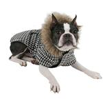 View Image 2 of Houndstooth Coat w/ Fur Trim by Puppia - Black