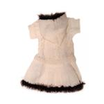 Ivory Hooded Dog Dress with Fur Trim by Klippo