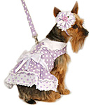 View Image 1 of Lavender Polka Dot Harness Dress w/ Hat and Leash