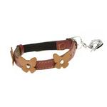 View Image 1 of Leather Cat Collar - Papillon Red