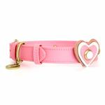 View Image 1 of Hearts Leather Dog Collar - Pink