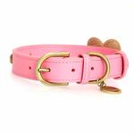 View Image 2 of Hearts Leather Dog Collar - Pink