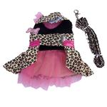 View Image 2 of Leopard Harness Dog Dress and Leash - Pink