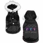 View Image 1 of Let it Snow Penguins Rhinestone Dog Coat - Black