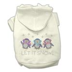 View Image 1 of Let it Snow Penguins Rhinestone Dog Hoodie - Cream