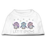 Let it Snow Penguins Rhinestone Dog Shirt - White