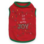 View Image 2 of Lit Up with Joy Dog T-Shirt - Red