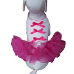 View Image 4 of Little Ballerina Tutu Dog Harness Dress w/ Leash - Hot Pink