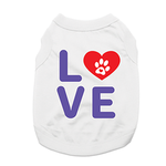 Love Dog Shirt with Paw Heart - White