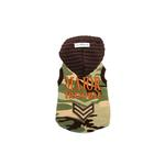 View Image 1 of Major Trouble Dog Hoodie by Hip Doggie - Green Camo