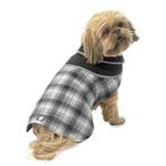 View Image 1 of Manchester Fleece Dog Coat  - Gray Plaid