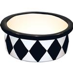 View Image 1 of Melia Harlequin Ceramic Pet Bowl - Herringbone