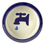 View Image 1 of Melia Water Tap Ceramic Pet Bowl - Moody Dark Blue