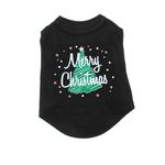 View Image 4 of Scribbled Merry Christmas Screenprint Dog Tank Top - Black