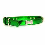 View Image 1 of Metallic Crystal Bone Dog Collar - Emerald Green